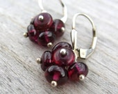 Wine Berries Garnet Cluster Earrings, Oxidized Sterling Silver, January Birthstone
