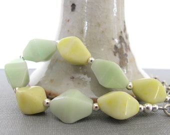 Silver Necklace, Sterling Silver, Yellow and Green, Glass Necklace, Silver Jewelry, Pastel Yellow, Pastel Mint Green, Czech Glass,
