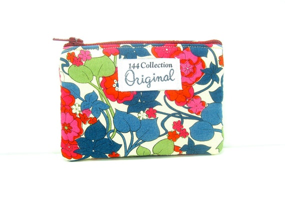 Coin Purse, Small Wallet - Navy Lupine Small Floral Zipper Wallet, Change Purse