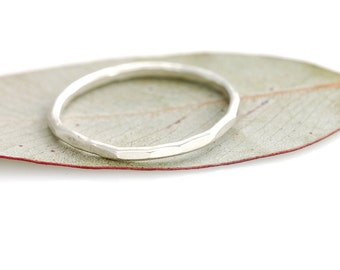 Single Organic Stacking Ring - Made to order in your size - Sterling silver skinny stacking ring