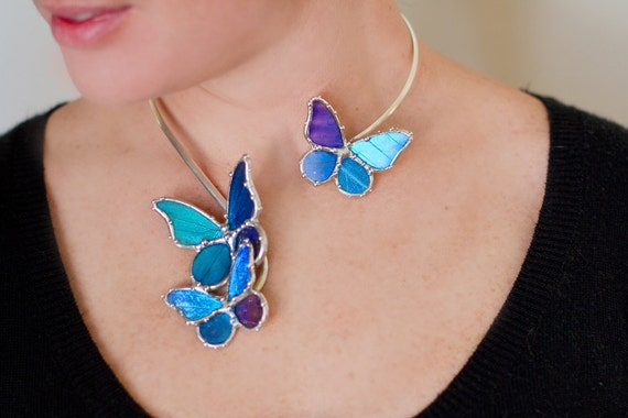 RESERVED for BUFFY - with Priority Shipping - Statement Necklace - Real Blue Morpho Butterflies Alight - Bridal Something Blue