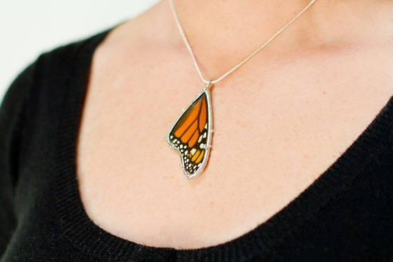 Monarch Butterfly Necklace - Real Butterfly Wing Jewelry - Unique Jewelry for a Nature Lover