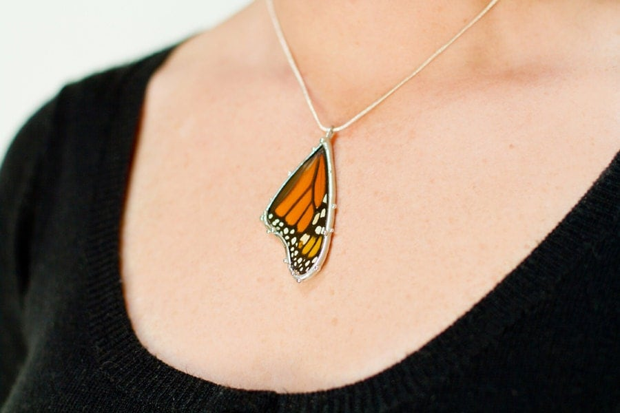 Monarch Butterfly Necklace Real Butterfly Wing Jewelry