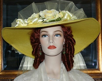 Kentucky Derby Hat Southern Belle Wedding Hat Church Hat Ascot Hat Yellow Hat - Texas Sweetheart