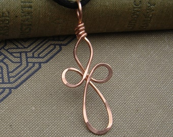 Long Loopy Celtic Copper Cross Pendant, Celtic Cross Necklace Stocking Stuffer, Christmas Confirmation Gift, First Communion, Copper Jewelry