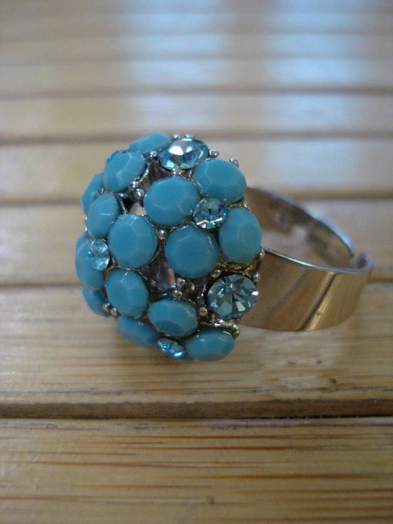 1960s Turquoise Sky Blue Rhinestone Runway Statement Cocktail Ring Adjustable 2012711