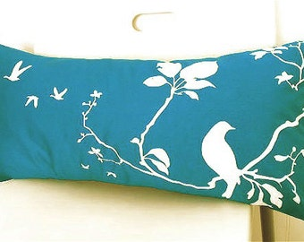 Teal Flying By Rectangle Pillow