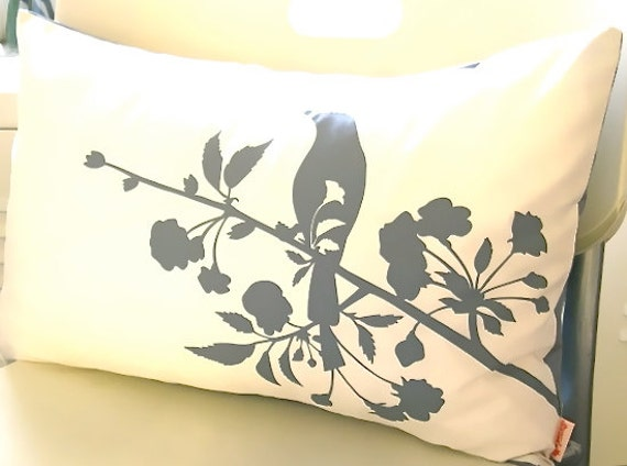 Grey Print on Off White Blooming Blossom Rectangle Pillow