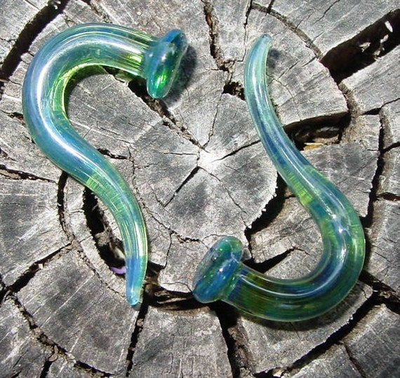 Green Sea 4g gauged ear plugs earrings talons for stretched piercings Infinite Cosmos Glass