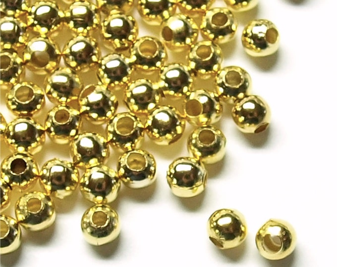 CLOSEOUT - BDBGP-rd30 - Bead, Round, 3mm, Gold - 100 Pieces (1pk)