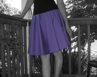 Purple Circle Skirt Custom Made Any Size Womens fashion Cotton Full Skirt
