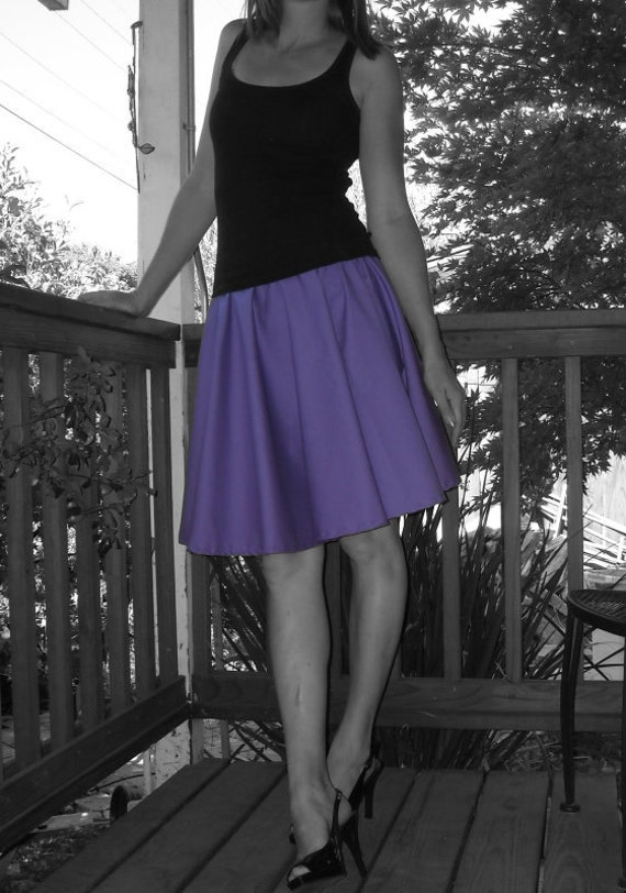 Purple Circle Skirt Custom Made Any Size Womens fashion Cotton Full Skirt