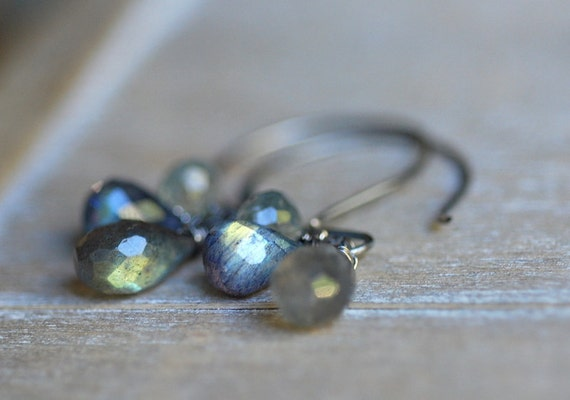 Moss Aquamarine & Labradorite Earrings . Sterling Silver Dangle Flash Blue Grey Teardrop Jewelry Gift