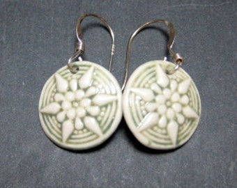 Green Starburst Porcelain Earrings With Sterling Silver Earwires