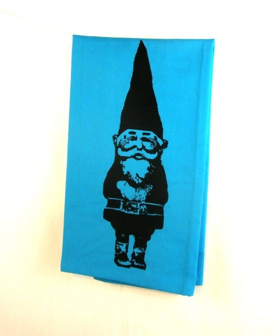 Tea Towel Gnome - Kitchen Towel - Woodland Retro Kitchen Blue Amelie Dining and Housewares - Screen Print - Home and Living
