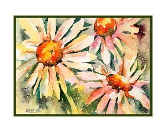 Watercolor Trio of Daisies Note Cards, Notecards, Daisy Print, Daisy Stationery, White Daisies Cards, Gift Box