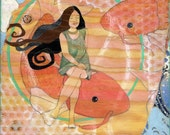 CUSTOM Painting, Pisces, The Fish, Original OOAK Painting by Portland Artist Lea Keohane