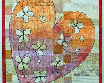 Purple/Orange Heart - Art Quilt