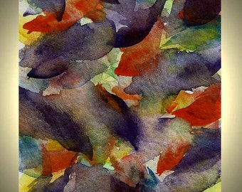 Original Abstract Watercolor Painting Feather Me  Autumn Leaves Original ACEO Art Trading Card