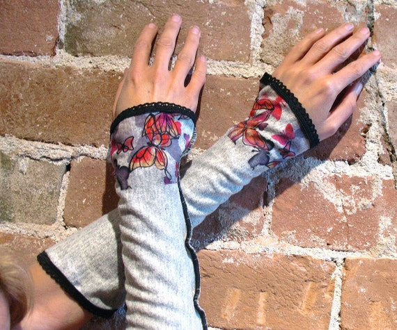 Pink Butterfly Arm Warmers - Gray Gauntlet Sleeves black edge OOAK one-off cotton armwarmers