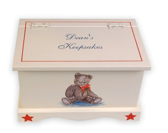 Baby Keepsake Chest Memory Box personalized - Classic Teddy Bear Baby gift hand painted