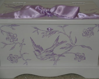 Baby Keepsake box chest baby memory box personalized - Lavender Toile baby girl gift hand painted