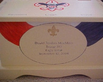 Keepsake chest memory box - Eagle Scout Boy Scout hand painted