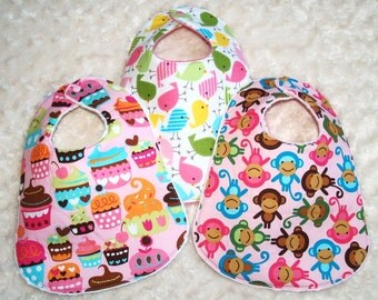 Boutique Kawaii  Baby Girl Bibs- Set of 3