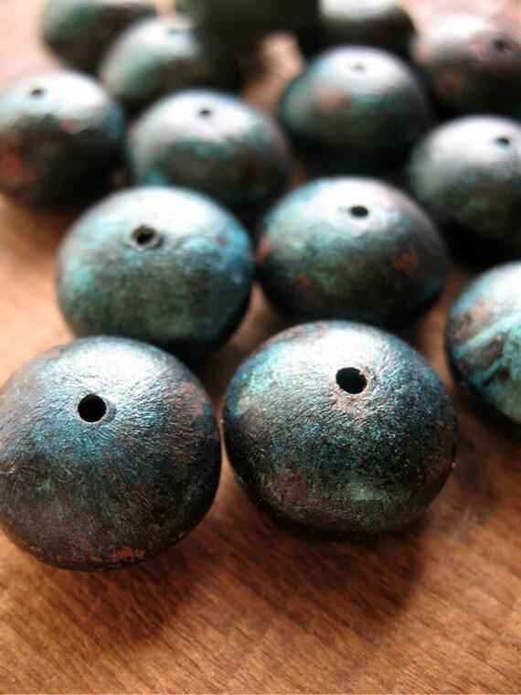 Deep Sea Roundels - Patina Copper Artisan Beads