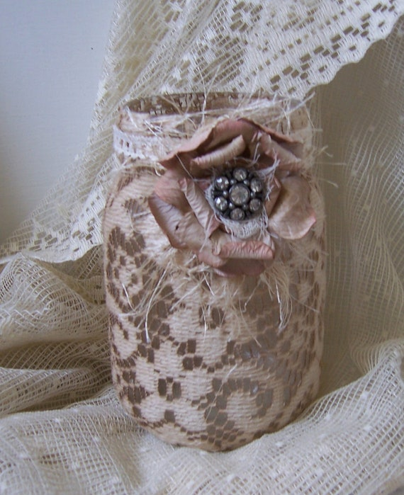 mason jar with hand dyed vintage lace tattered rose pin center flameless candle included