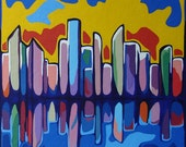 Modern Contemporary Cityscape Painting ORIGINAL Fine Art Multi-Color Artwork Colorful Acrylic Urban City Reflection Op Art
