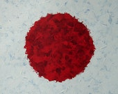 ORIGINAL Modern Art Red Dot Painting Acrylic On Paper Red And White Japan Flag Design
