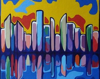 Modern Contemporary Cityscape Painting ORIGINAL Fine Art Multi-Color Artwork Colorful Acrylic Urban City Reflection Op Art