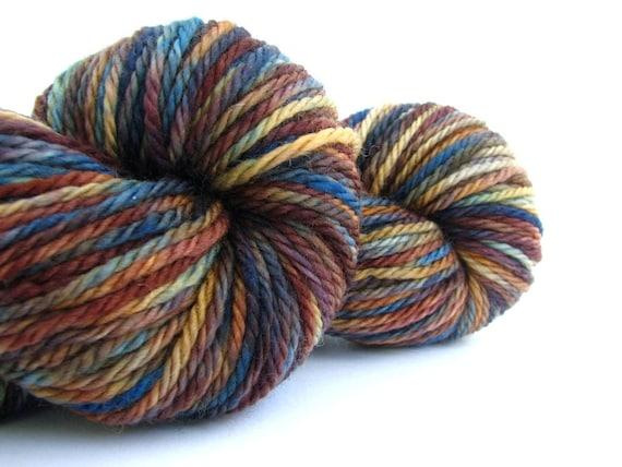 Aran weight wool, superwash merino, hand-dyed worsted 10 ply, knitting crochet, Perran Yarn, Steelworks, blue, brown
