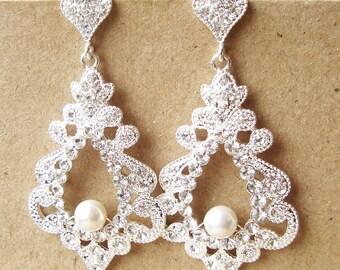 Bridal Chandelier Earrings, Statement Wedding Earrings, Vintage Style Wedding Bridal Jewelry, Victorian Style Bridal Earrings, ODETTE