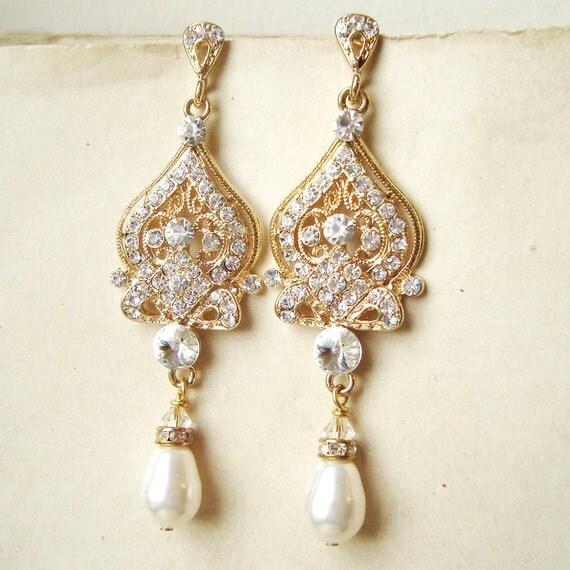 Brautschmuck ohrringe gold  Braut Ohrringe GOLD Gold Hochzeit Ohrringe Gold