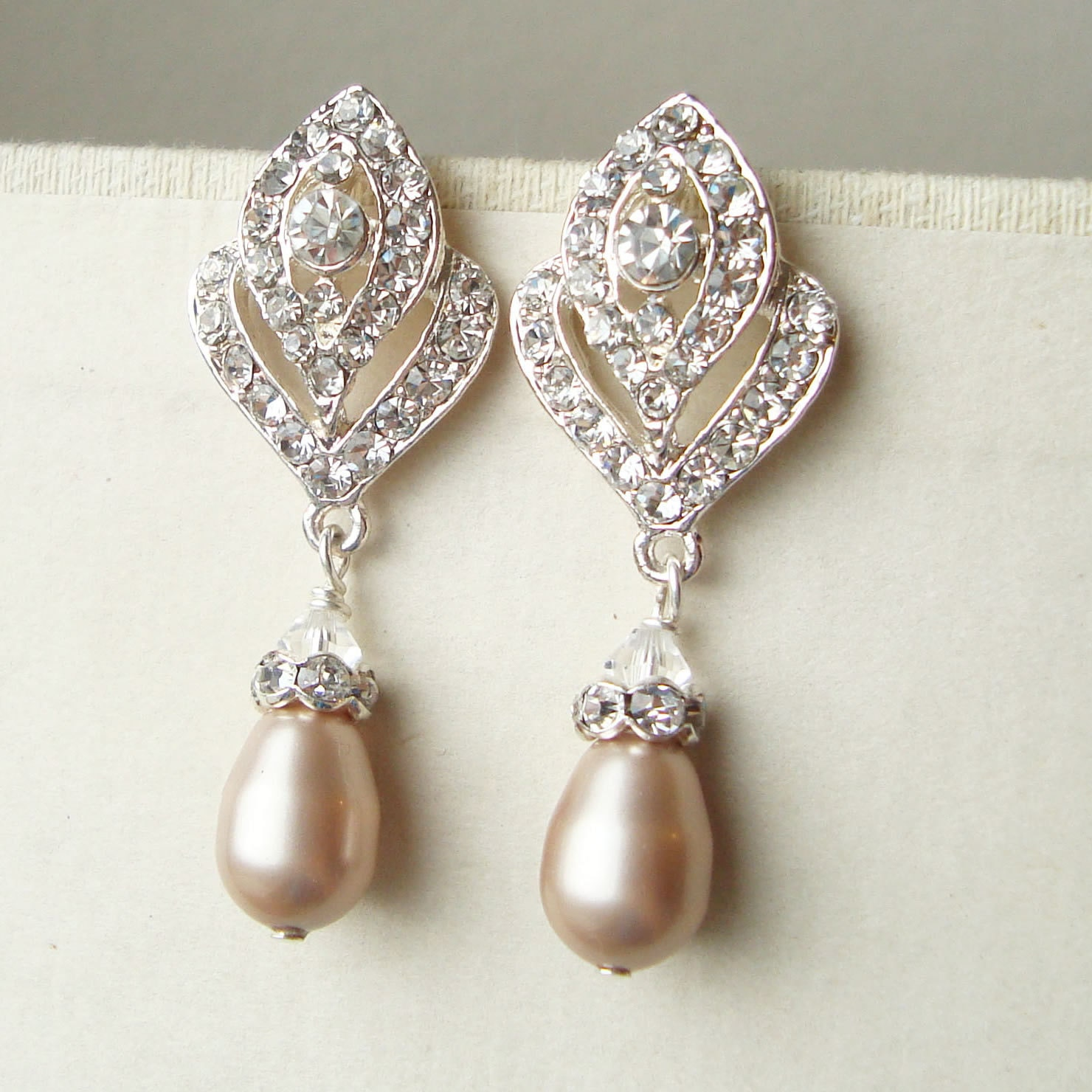Champagne Pearl Wedding Earrings Vintage Style Bridal
