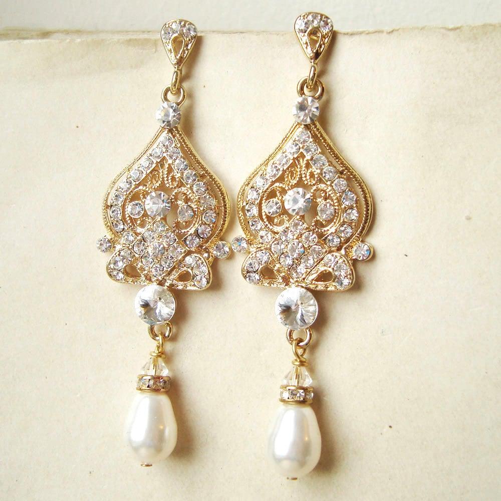 GOLD Bridal Earrings Gold Chandelier Wedding Earrings Gold – Pearl Chandelier Bridal Earrings