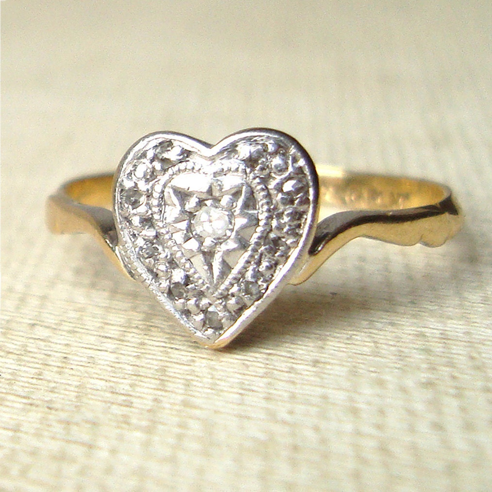 Antique Diamond Heart Engagement Ring Vintage Diamond Heart