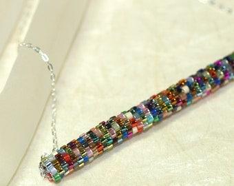 Metallica Tube ... Pendant . Necklace . Peyote . Tubular . Multicolor . Fun . Colorful . Sterling Silver Chain . Simple Style