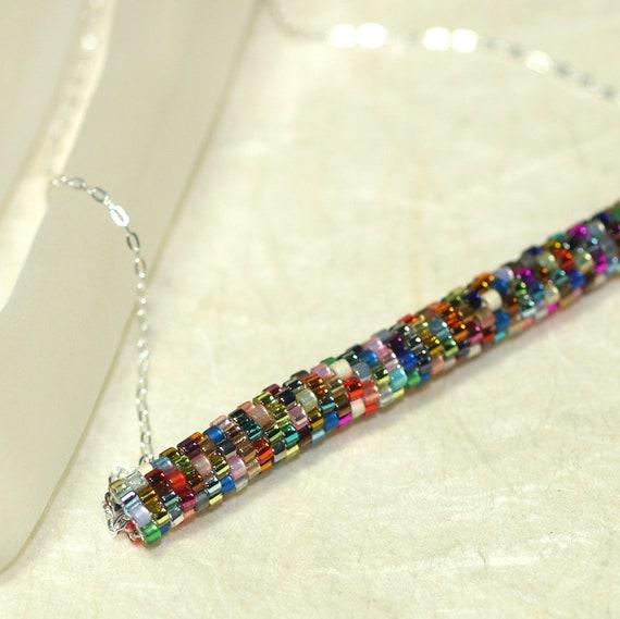 metallica pendant necklace peyote tubular