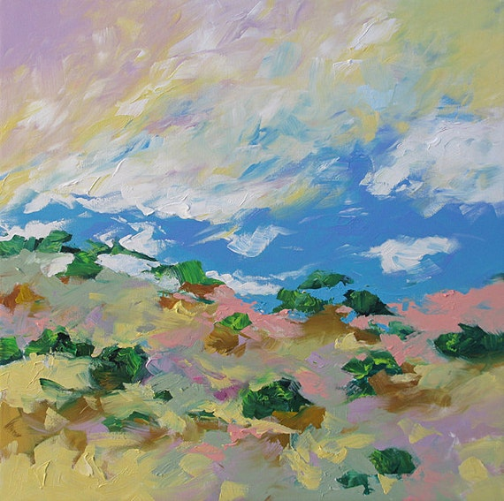 Original Landscape Painting Abstract or Impressionist Art Surreal Magical Backcountry by Linda Monfort