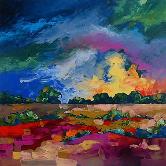 Print of Abstract or Impressionist Art Landscape Painting, Fauve, Wonderful Day by Linda Monfort