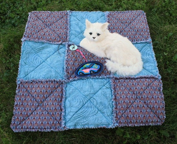 Reserved for Pam--On Sale--Cat Blanket In Brown and Teal
