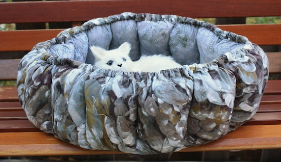 Round Overstuffed Cat Bed In Natural Gray Stone