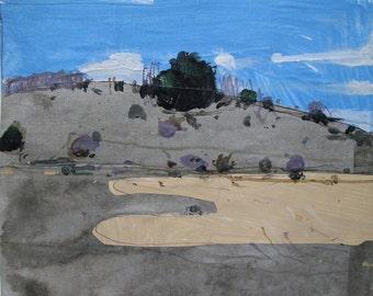 November 24, 3:00 pm., Lost Dog Hill, Original Landscape Collage Painting on Paper