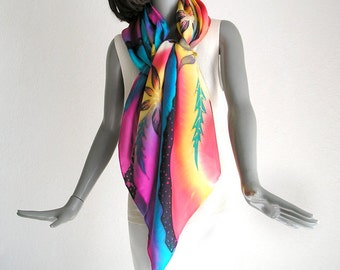 Hand Painted Silk One of a Kind Square Scarf Multicolor Rainbow Colors, Unique JOSSIANI Creation.