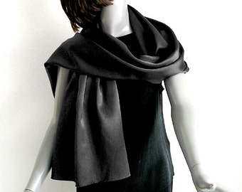 "Black Silk Charmeuse Shawl Wrap, Solid Black Coverup, Pure Mulberry Silk, Finely Hand Hemmed Rolled 20x60"", Small Petite S M, Artinsilk"