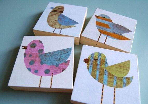 """Collage Bird Art Blocks- 4 Print Set- 3"""" x 3""""- Bird Gift- For- Kids Room Decor Art Gift for Mom- Gift for Bird Lover- Art for Kids Room- Art"""