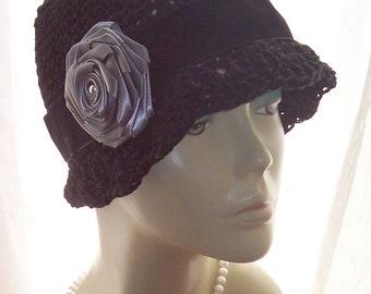 Black Cotton Cloche 20s Flapper Hat Gray Grey Satin Rose Pearl